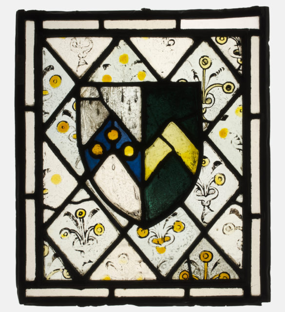 Stained Glass Panel with Heraldic Shield of Johnson