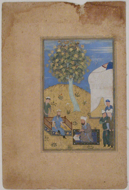 """""""Sultan Listening to a Man Reading from a Manuscript"""", Folio from a Manuscript by Mir Ali Shir Nava'i"""