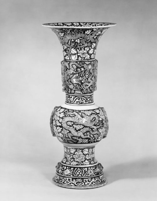 Temple Vase with Dragons amid Flowers