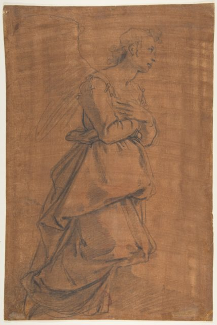 The Archangel Gabriel Kneeling to the Right; Small Study of Head at Lower Left.