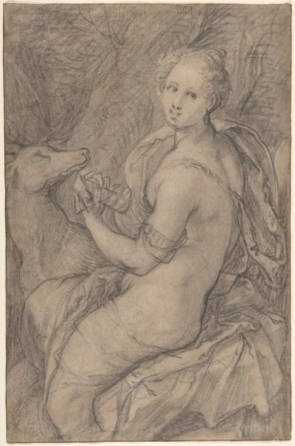 The Sense of Hearing; verso: light sketch of a woman's head and an arm