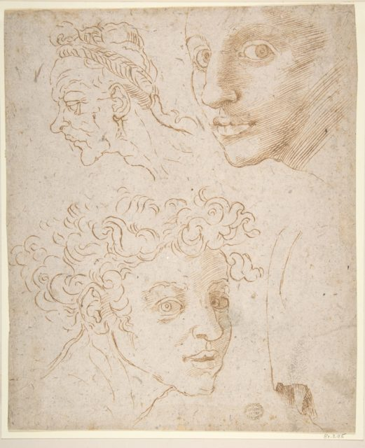 Three Heads after Michelangelo's Frescoes in the Sistine Chapel