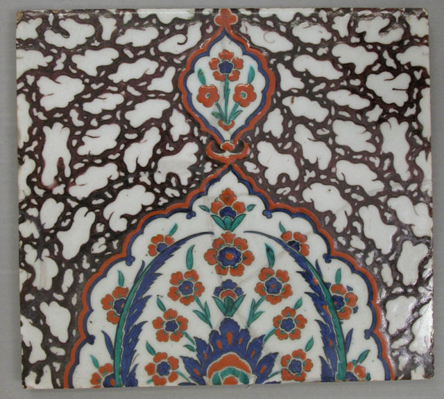 Tile with Floral Cartouche Design on Ebru (Marble Imitation Pattern) Background