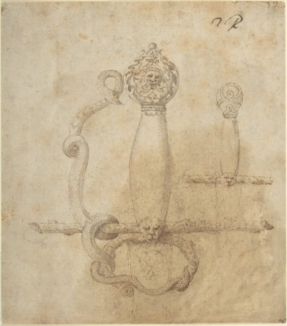 Two Designs for the Hilt of a Sword (recto); Two Designs for Helmets (verso)