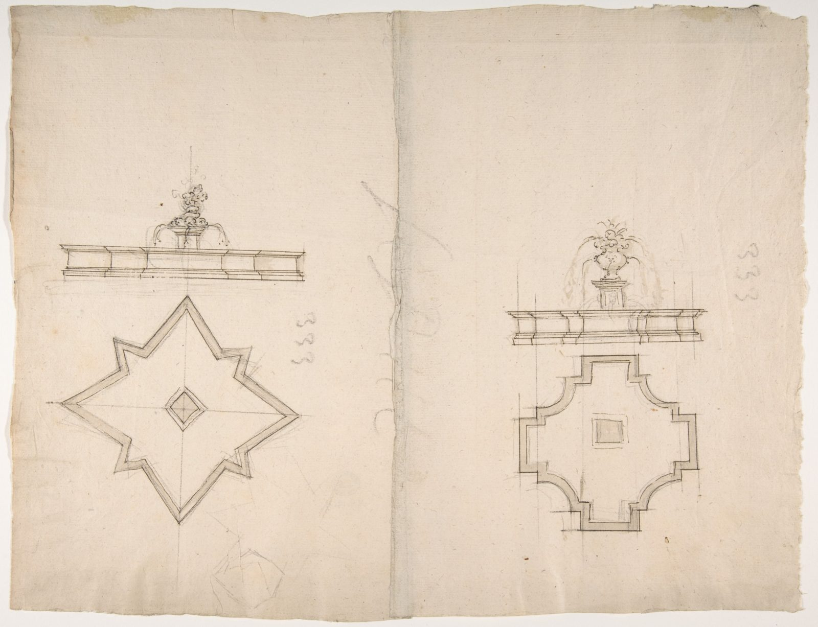 Two Plans and Elevations for Fountains