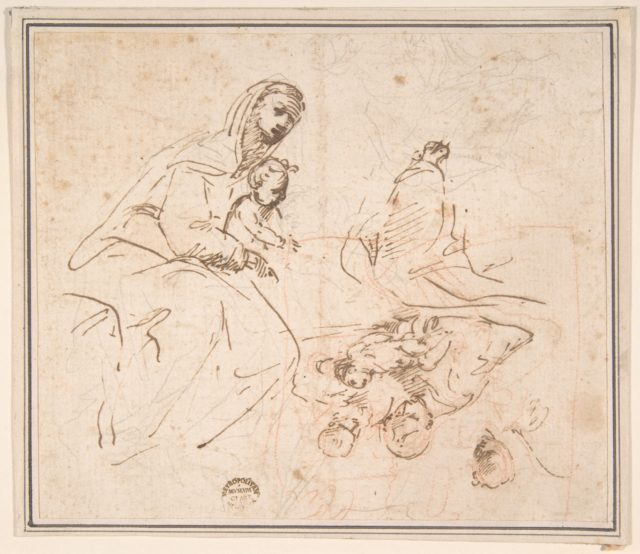 Two Studies for the Madonna and Child (recto); Flagellation (verso)