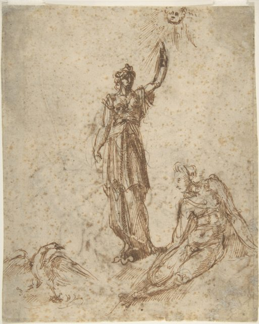 Two Women with Sun and Bird (recto); Two Men Fighting and a Fallen Horse (verso)