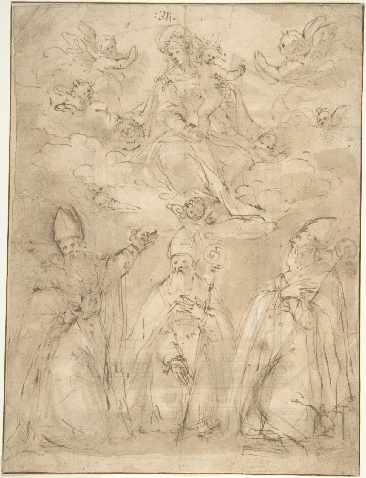 Virgin and Child Worshipped by Three Bishops