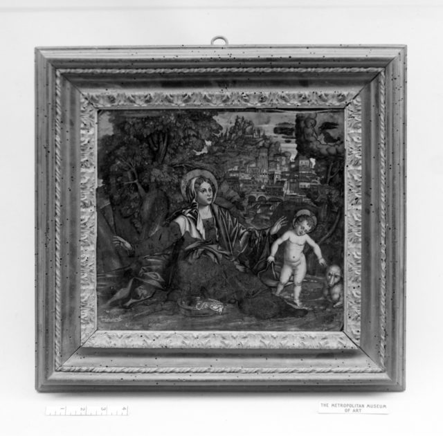 Virgin seated in landscape with Christ Child