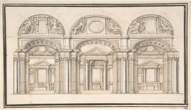 Wall Elevation with Three Chapels; Floor Plan with Columns (Verso)