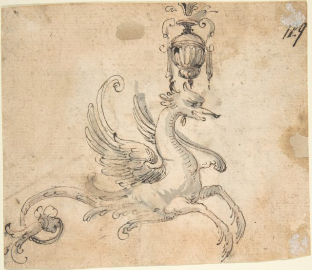 Winged Hippocamp supporting a Vase (recto); Figure Studies and Architectural Design (verso)