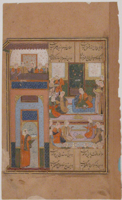 """Zulaykha with her Handmaidens After her Second Dream of Yusuf"", Folio from a Yusuf and Zulaykha"