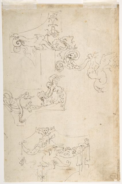 Sheet of Figure Studies, Probably after the Antique (recto); Ornamental Designs (verso)