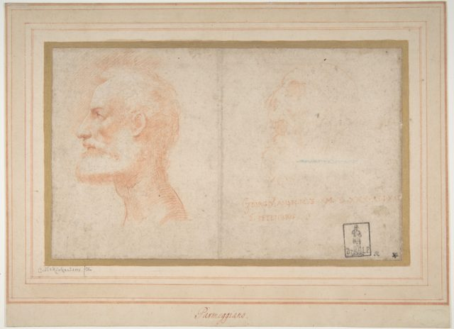 Head of a Bearded Man in Profile to Left, possibly the Portrait of the Poet Giorgio Anselmi (ca. 1459-1528), with Faint Sketch of a Skull-like Head