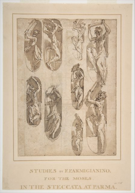 Nine Studies of the Moses in Santa Maria della Steccata, Parma (recto); Nine Studies for the Eve in Santa Maria della Steccata, Parma (verso)