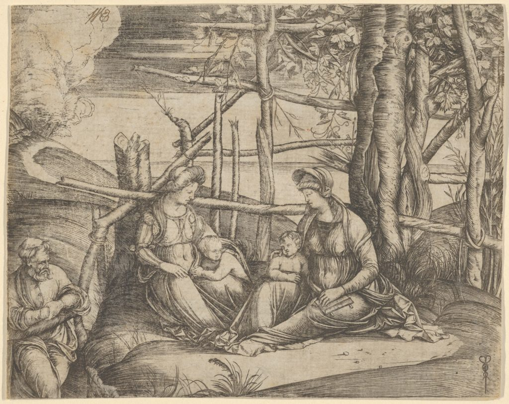 The Virgin and Child with Saint Elizabeth and John the Baptist in a landscape, St Joseph at the left
