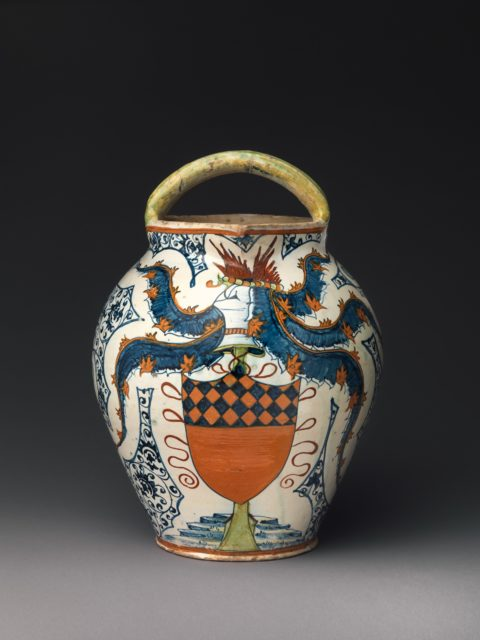 Double-spouted pitcher with arms of the Antinori family