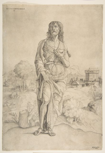 Saint John the Baptist standing in landscape, figures and buildings in the backgroud