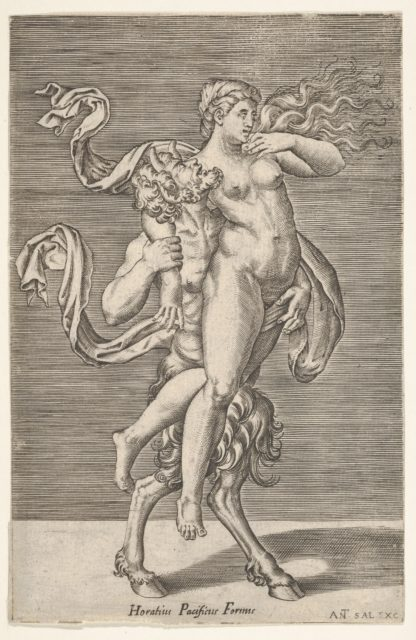 Satyr carrying a nymph, whose right arm is wrapped around the satyr's neck, with a planar background