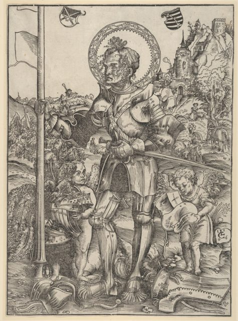 Saint George Standing with Two Angels