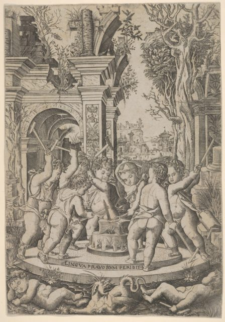 The fate of an evil tongue; seven putti stand around an anvil on which they hammer a tongue, landscape and architecture behind