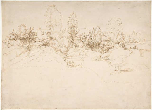 Landscape (Wooded Approach to a Town)