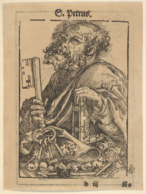 Bust of Saint Peter, from the Large Series of Wittenberg Reliquaries; verso: Martin Luther (1548)