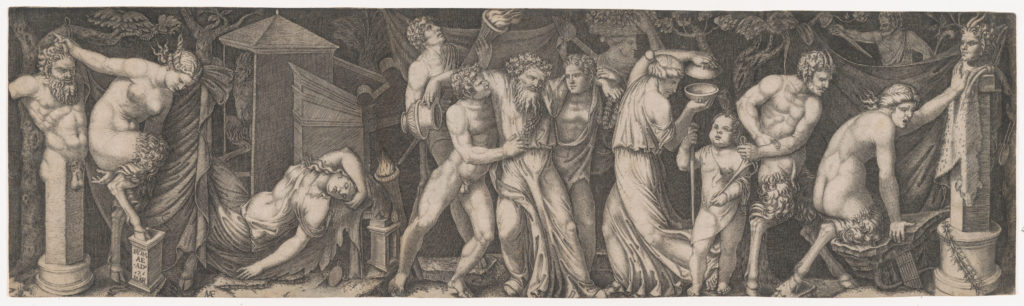 A Bacchanal, Silenus supported by two bacchants in the centre, at left a female satyr reclining on a bed and another holding onto the horns on a statue of Priapus while she tries to impale herself on his phallus, various other figures fill the composition