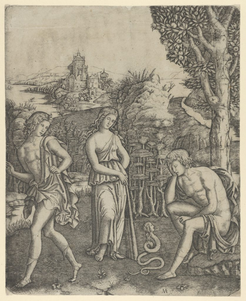 A young man sitting at right resting his head in his hand, a snake with a womans head before him, a young woman holding a  pan pipes standing in the centre and a young man leaving at left