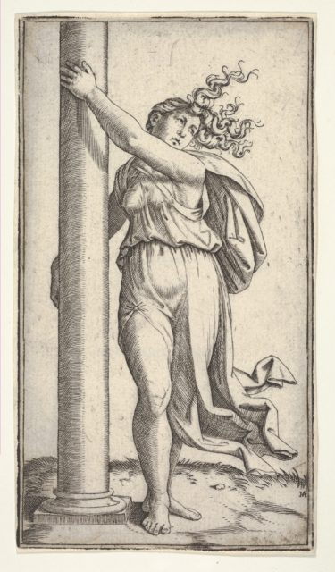 A young woman personifying Force or Strength holding a column