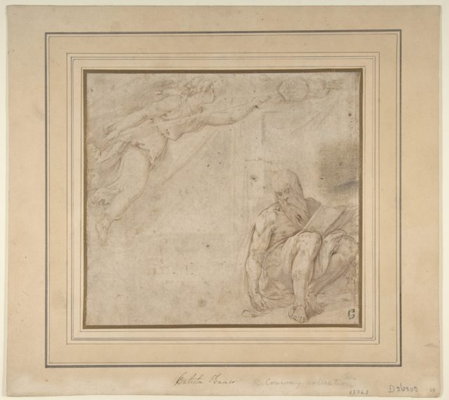 Allegory with a Flying Victory and a Seated Bearded Man with a Book