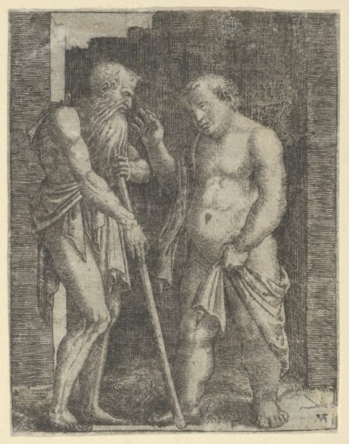 An old skinny man at left talking with a fat man at right