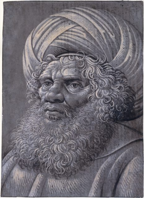 Head of a Bearded Man Wearing a Turban (recto); Latin script (verso)