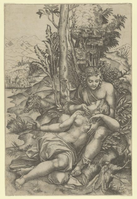 Medor and  Angelica from Lodovico Ariosto's 'Orlando Furioso' or Venus and Adonis embracing, set within a landscape