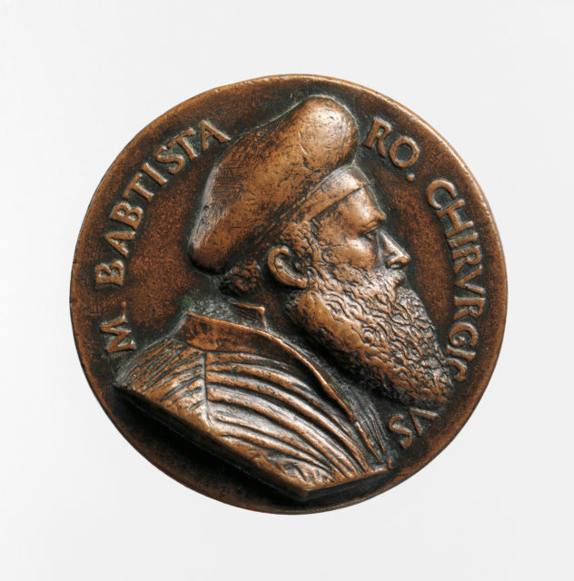Portrait medal of Battista Vigo da Rapallo or Baptista Romanus (obverse); a Hand Holding a Branch and a Surgical Instrument