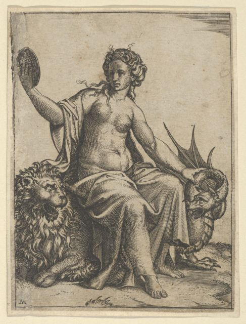 Prudence as a young woman, sitting on a lion and holding the neck of a dragon with her left hand, holding a mirror in her right hand