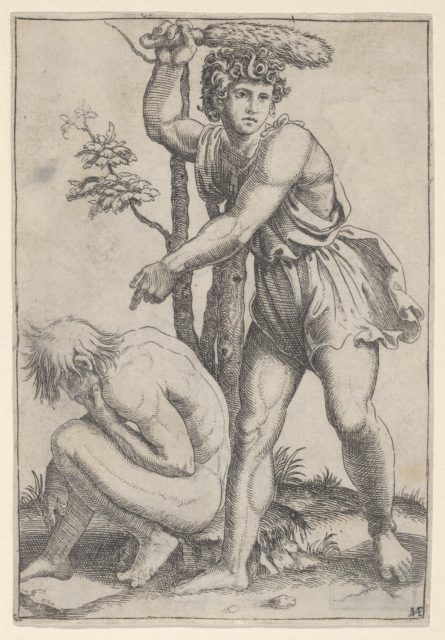 The seated naked man at left being beaten with a fox's tail