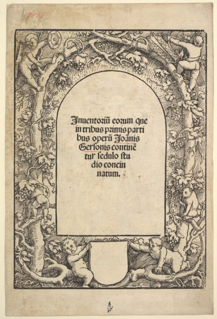 Title Border with Five Genii and a Monkey