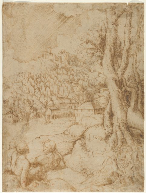Two Seated Figures in a Landscape with Mountains and a Town (recto); Sketch of a Landscape with Mountains and Buildings (verso)