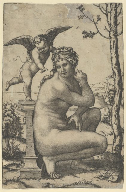 Venus crouching by a plinth on top of which stands Cupid