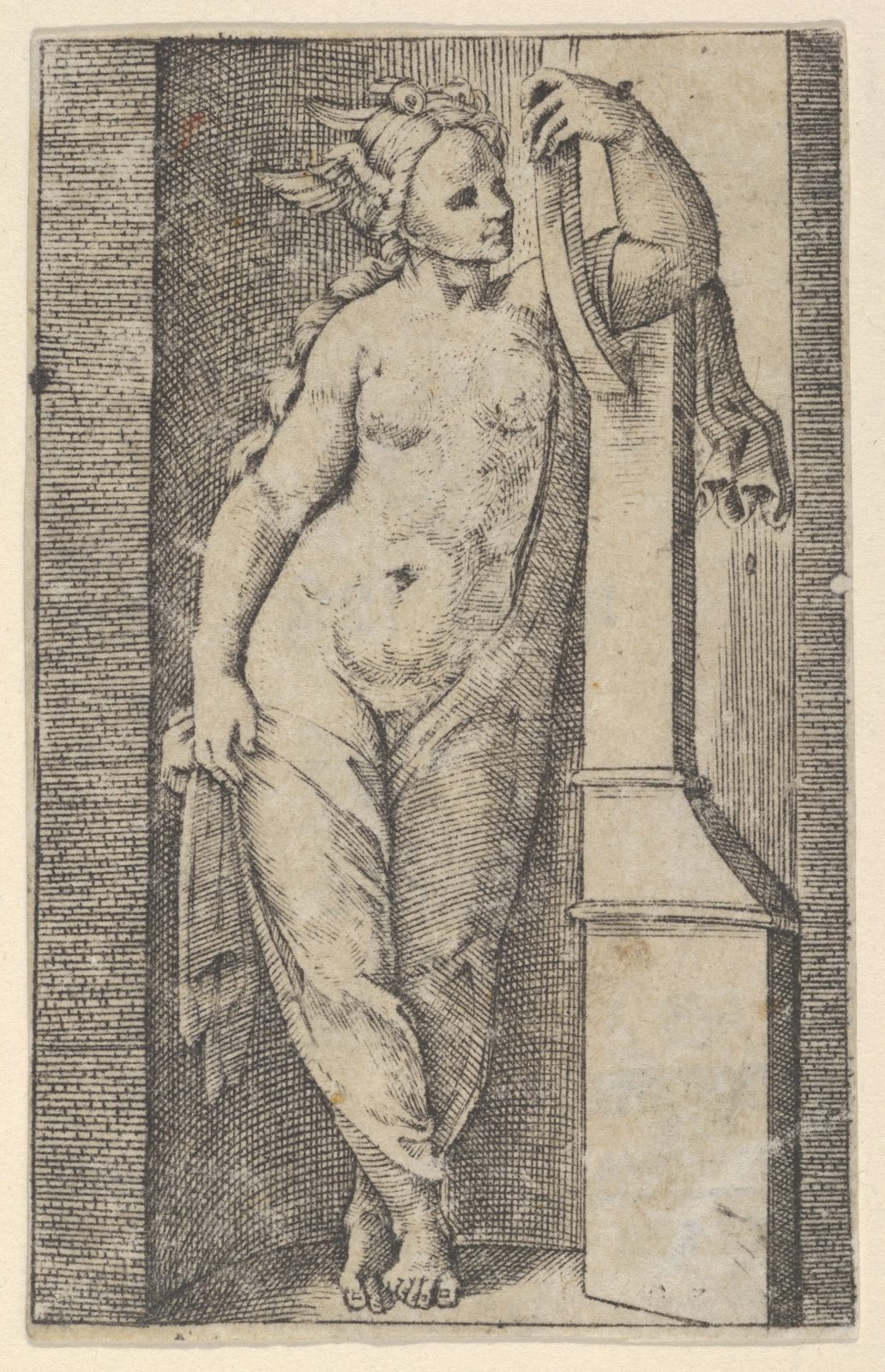 Woman with a winged head standing in a niche