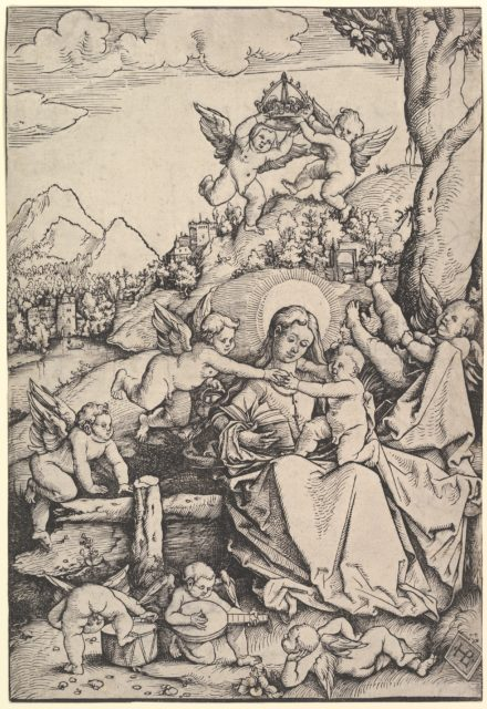 The Virgin and Child with Eight Angels in a Landscape