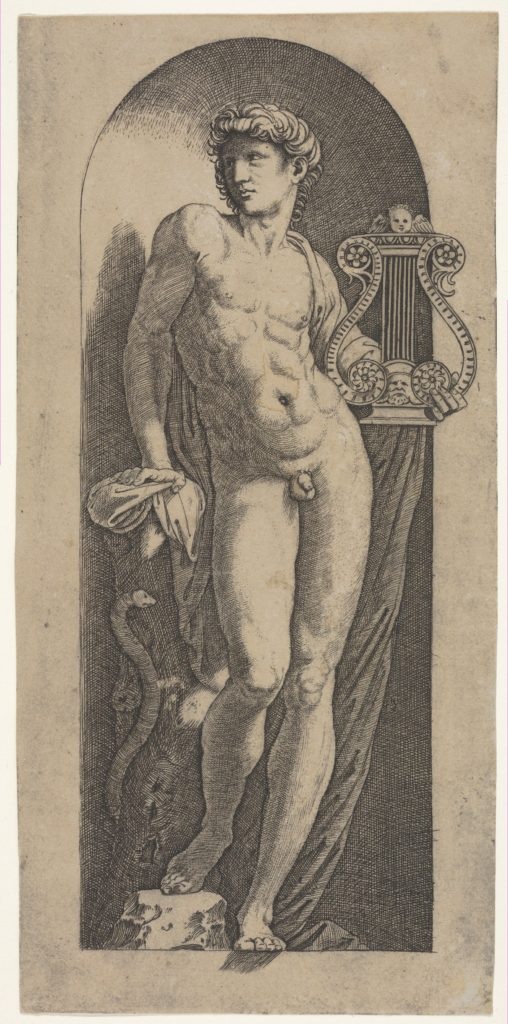 A statue of Apollo, naked standing in a niche, holding a lyre in his left hand and leaning on a tree trunk