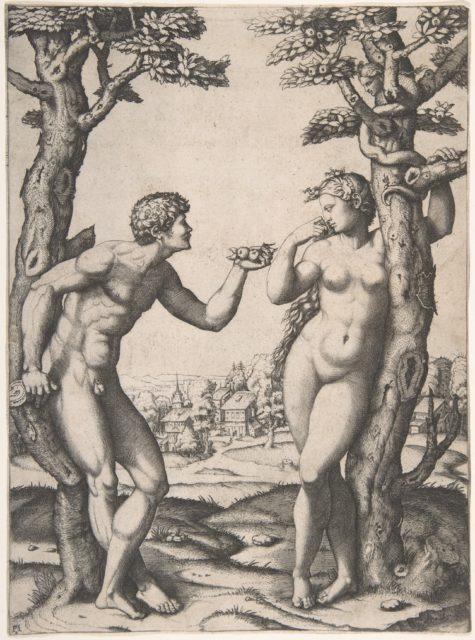 Adam and Eve flanked by two trees, a town in the background