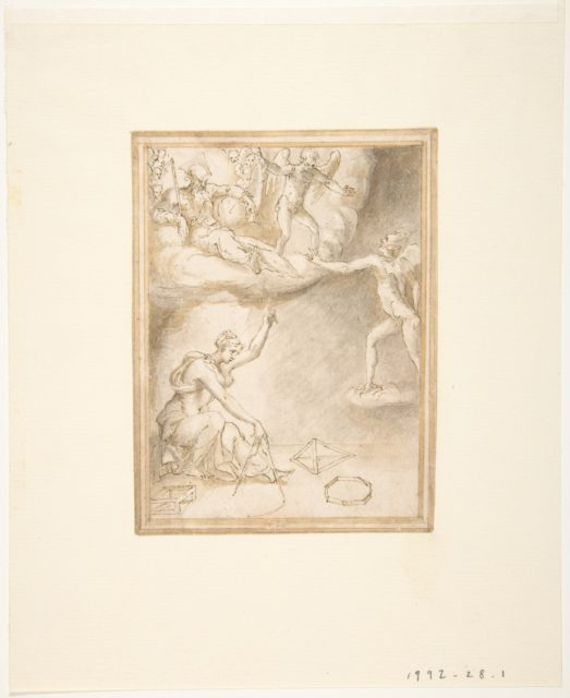An Allegory:  Female Figure with a Compass, God the Father Seated on Clouds, and a Demon