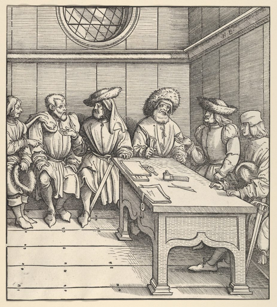 The White King's Council with the Captors, from Der Weisskunig