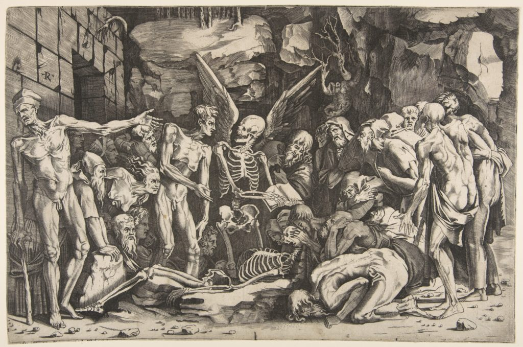 A group of emaciated men and women gathered around a skeleton laid on the ground and a figure of Death as a winged skeleton standing above it holding an open book