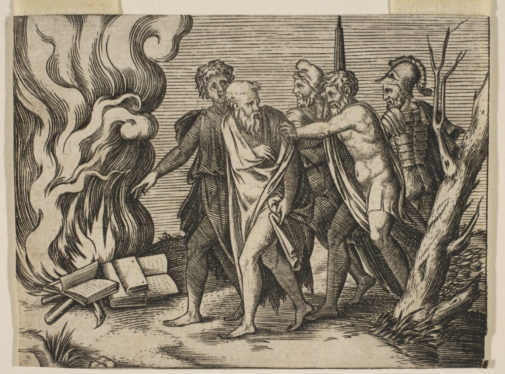 A group of men at right pushing philosophers toward a fire with burning books at the left