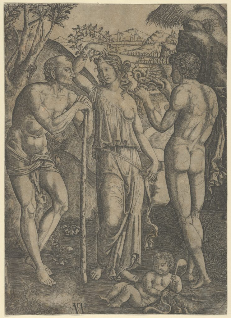An allegorical scene; a young woman at centre holding a wreath above her head, at left is a old man leaning on a stick, a younger man at right who holds a small dragon