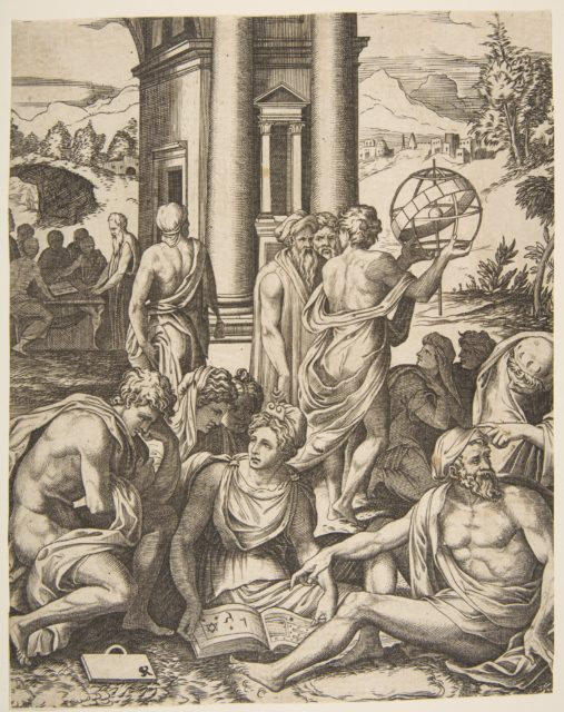 Assembly of male and female scholars gathered around an open book, in the middle ground a man holds aloft an armillary sphere, another group of scholars in the background
